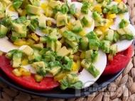 Редена салата с домати, гъби и авокадо